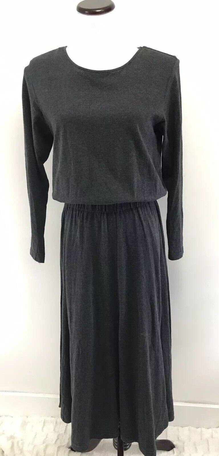 Vintage Laura Ashley Cotton Solid Grey Simple Maxi Long Dress