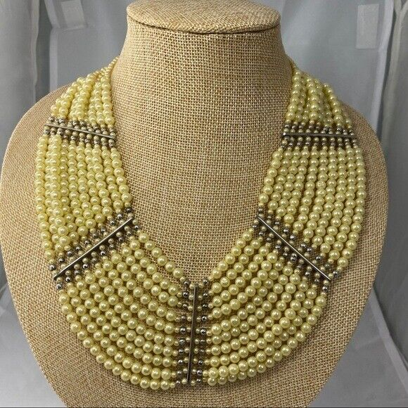 Vintage synthetic Pearl bib style necklace multi … - image 1