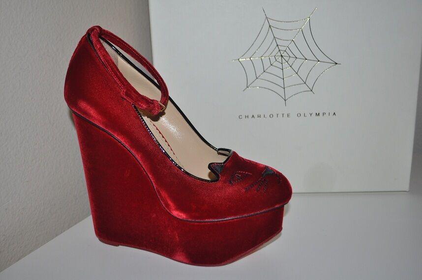 Nuevo En Caja 38.5 8.5 8.5 8.5 Charlotte Olympia rojo Velvet Gatito Calzado Tacón con Plataforma nuevo  875+  en venta en línea