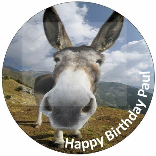 Funny Donkey Happy Birthday Cake Topper With Your Own Personalised Message Words