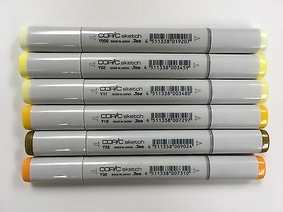 Lot 6 Copic Sketch Art Markers Yellow Colors Sun Gold Spring Double Tipped New