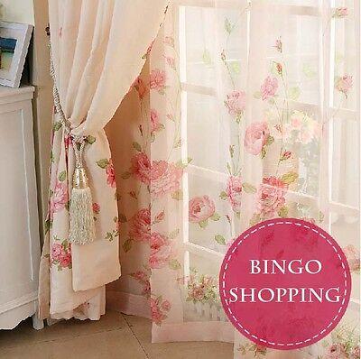 2 PCS Elegant Customer Made Pink Rose Check Window Curtain Panel Drape D012