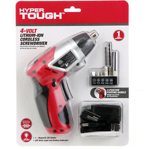 Hyper Tough Cordless Screwdriver Led Worklight Magnetic Bit