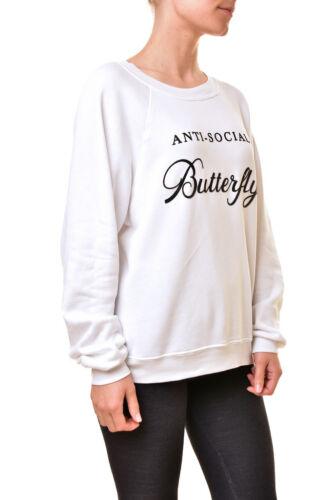 Pull social anti femmes Bcf810 £ blanc pour papillon Wildfox Rrp Wfl54296u 159 dqxfnd