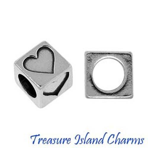 Coeur Argent Sterling .925 Bloc Perles 5.8 mm 3.8 mm HOLE love