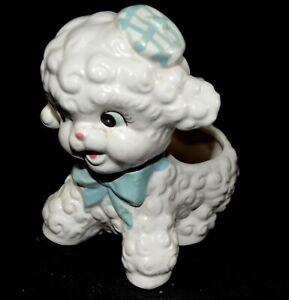 Vintage-1950-039-s-Rubens-Child-039-s-Nursery-Decor-Lamb-Ceramic-Planter-R630-Blue-Bow-H