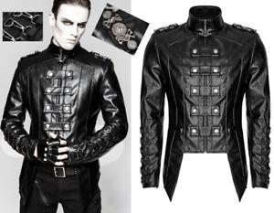 Details zu Leder antailliert Jacke Gothic Punk Militär Dandy Karabiner Mode PunkRave Herren