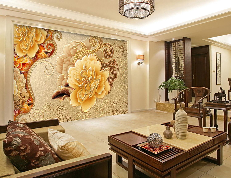 3D Gold Blaumen Textur 7893 Tapete Wandgemälde Tapeten Bild Familie DE Kyra
