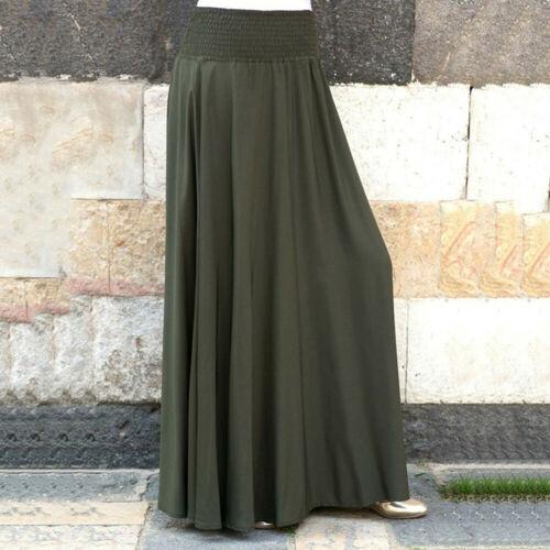 Fashion Women Elastic Waist Casual Pleated Skirt Vintage A-line Loose Long Skirt