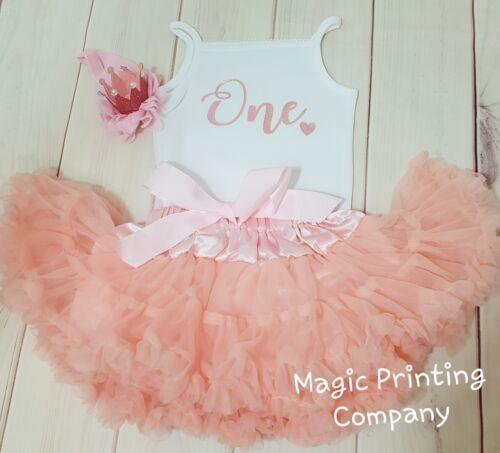 Traje de chicas 1st Cumpleaños Rosa Rosa Oro Brillo Pastel Smash bebé vestido de la tapa de un