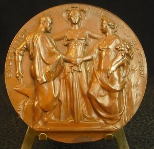 Contemplatif Médaille Exposition Internationale Bruxelles 1897 Par Lagae Et Wolfers Medal