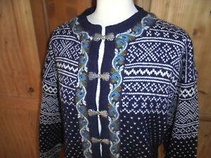vintage Norweger Strickjacke Wolljacke hippie jacke Wolle blau Gr.M