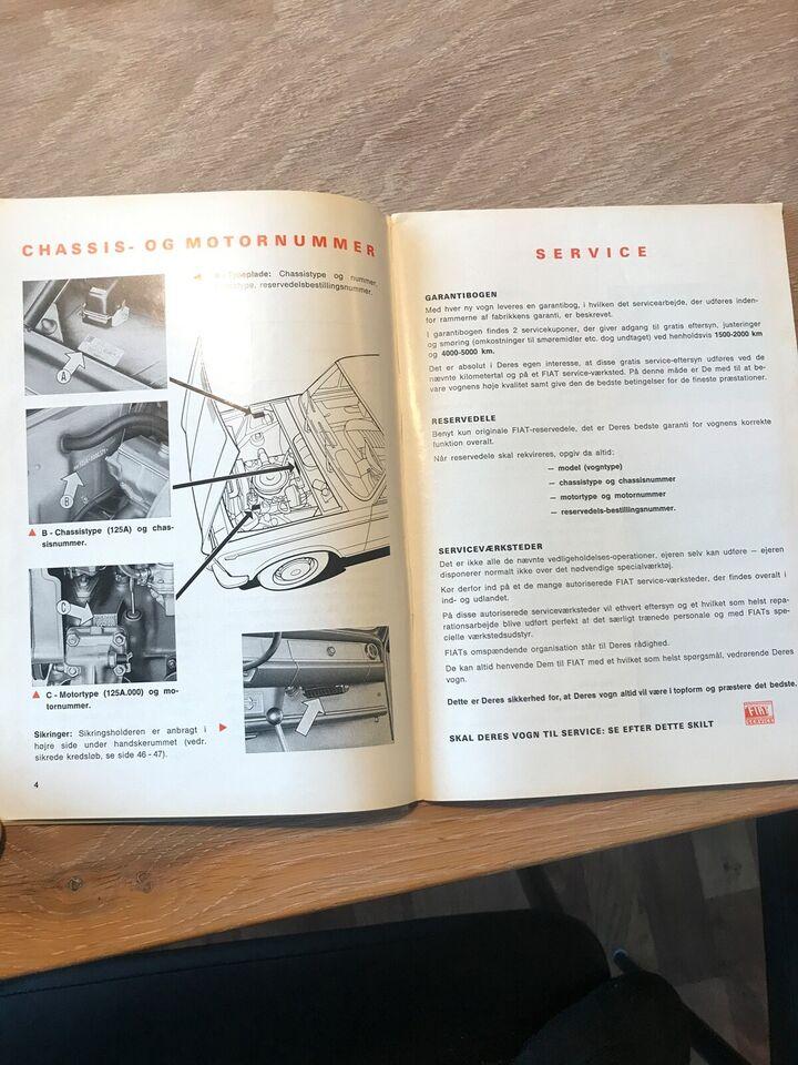 Andre reservedele, Instruktionsbog , Fiat 125