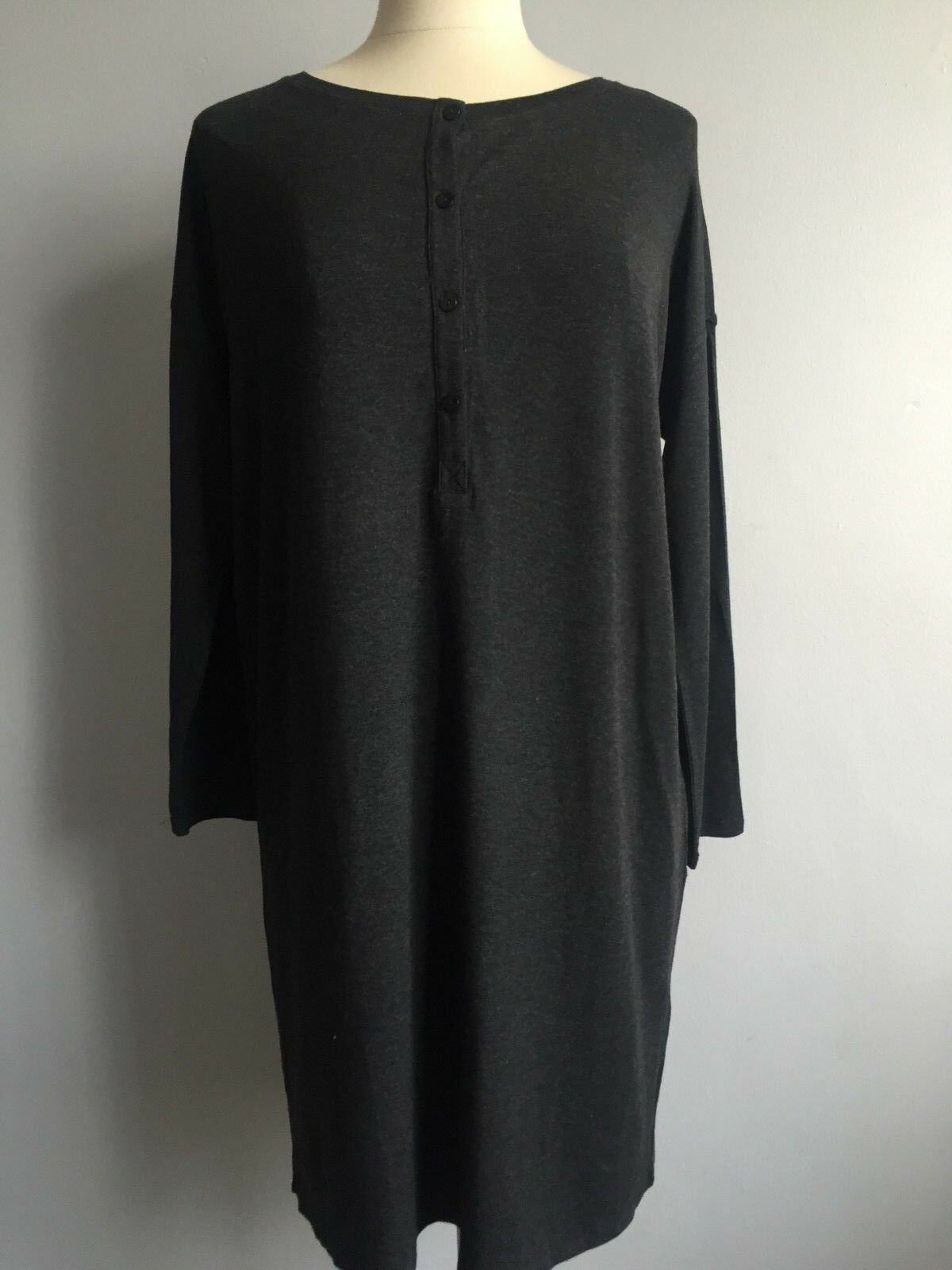 NWT  Eileen Fisher Charcoal Viscose Jersey Ballet Neck Shift Dress Tunic S M