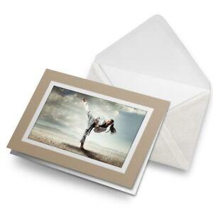 Greetings-Card-Biege-Karate-Girl-Martial-Arts-Kick-Fight-21750