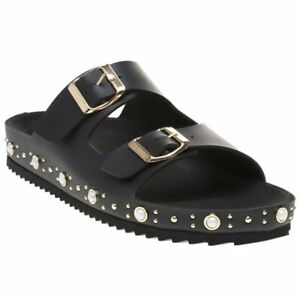 37c5ee1c02e3 Image is loading New-Womens-SOLE-Black-Lula-Synthetic-Sandals-Flats-