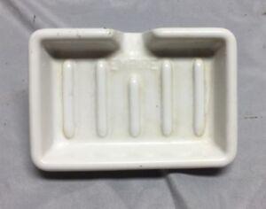 Vintage-Ceramic-White-Porcelain-Faucet-Mount-Soap-Dish-614-18C