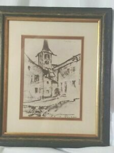 ANTIQUE-ART-DRAWING-CHARCOAL-SIGNED-MATTED-CHURCH-TOWER-ROSCHENZ-SWITERLAND