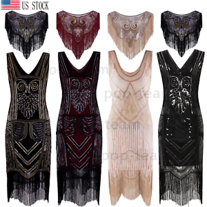 9ceacd9b45 Image is loading Vintage-1920s-Flapper-Dress-Gatsby-Wedding-Party-Formal-