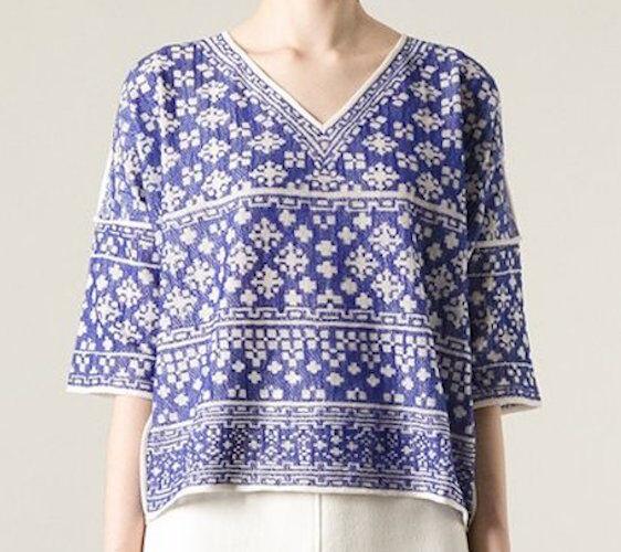 ISABEL MARANT ETOILE  Bela  Embroiderot Intarsia Top SZ S Blau Woven Bloom