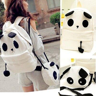 Fashion Women Girl Cute Panda  Schoolbag Shoulder Backpack Bookbag Handbag Set