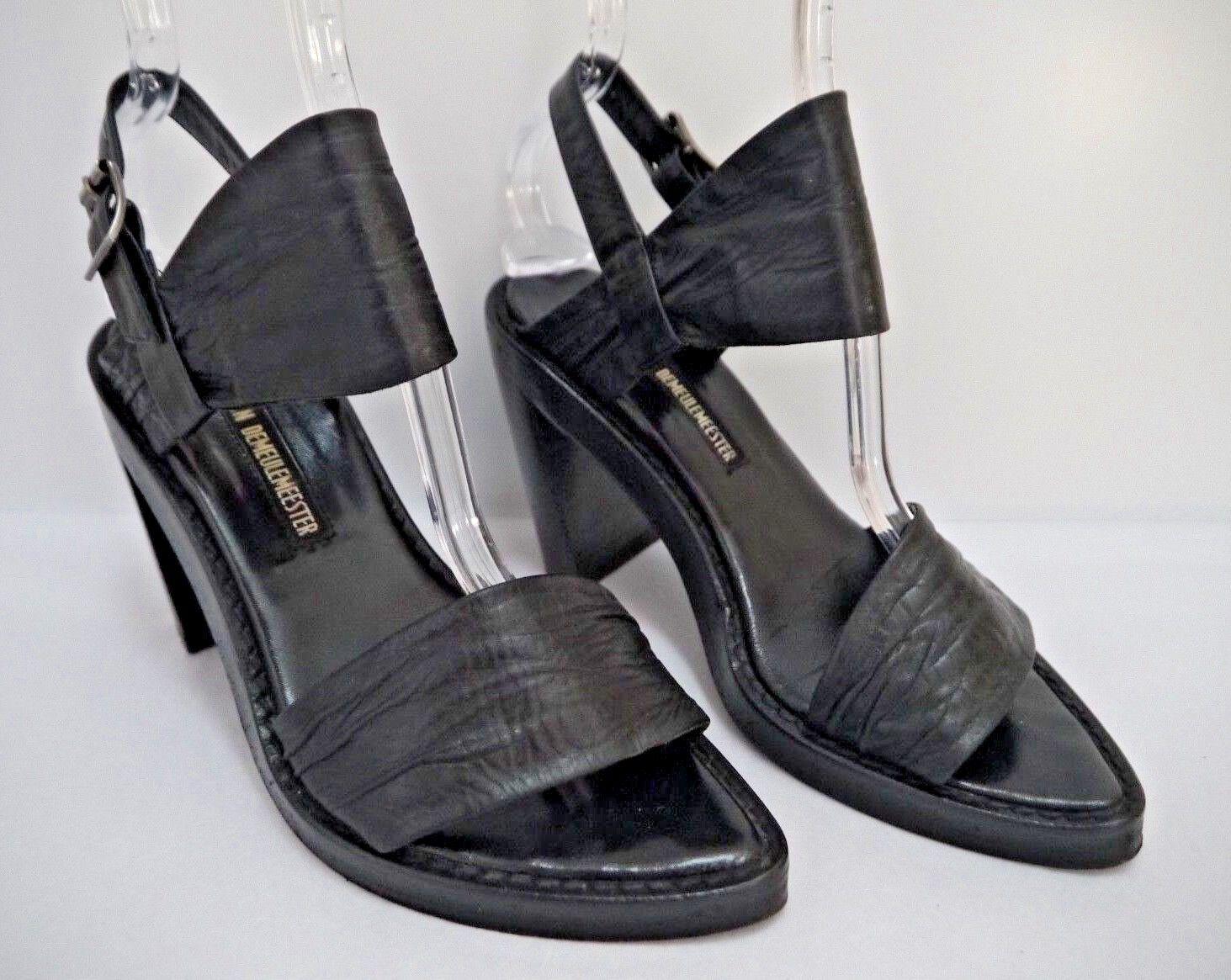 ANN DEMEULEMEESTER schwarz leather slant heel sandals Größe 37.5