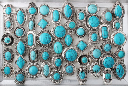 5Pcs vente en gros lots mixtes Vintage Gemme Turquoise Bagues Bijoux Nouveau libre