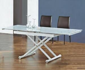 Tavolino da salotto si alza e si allunga diventa tavolo da pranzo vetro bianco ebay - Salotto con tavolo da pranzo ...