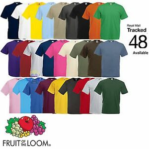 Fruit-of-the-Loom-100-Cotton-Plain-Blank-Men-039-s-Women-039-s-T-Shirts-Value-Weight