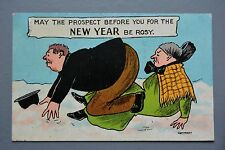 R&L Postcard: New Year, Large Bottom Rosy Cheek Man Fallen Over, Old Lady