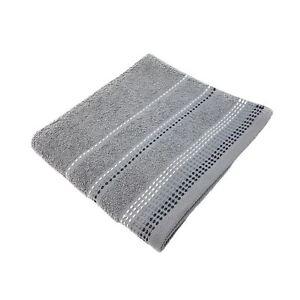LUXURY STRIPED BRIGHT 100% COMBED COTTON SOFT BERKLEY SILVER BATH SHEET TOWEL