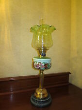 ANTIQUE VICTORIAN GREEN DUPLEX TABLE OIL LAMP WITH ORIGINAL OPTIC TULIP SHADE