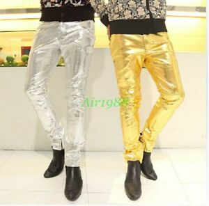 New Men/'s Patent Leather Slim Fit Casual Pencil Straight Pants Trousers 3 Color