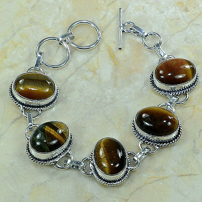 "GORGEOUS UNIQUE TIGER EYE SILVER BRACELET 6 1/4-7""; FREE SHIPPING!"