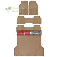 Odorless Hd Eco-free Rubber Floor Mats Van Suv Truck W/ Cargo Liner Beige on sale