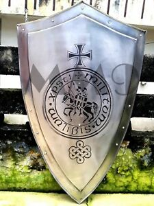 Medieval-KNIGHT-Shield-All-Metal-36-Handcrafted-Battle-Armor-Medieval Shield U1
