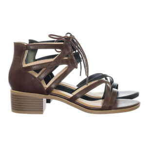 77a23f0ace139f Talla Gladiator Cage Lace Up Low Chunky Block Heel Open Toe Sandal ...