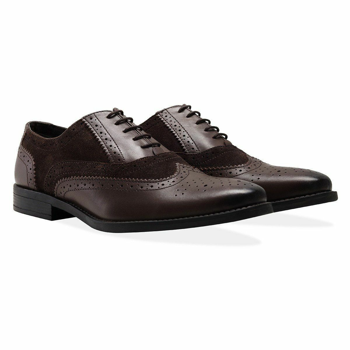 Redfoot Mens Gatsby Leather Suede Dark Brown Stone Brogues Formal Wedding shoes