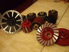 """2"""" Wet Polishing Drum 4 Pcs metal drum 5"""" Convex Blade Cup Wheel Granite Sink"""