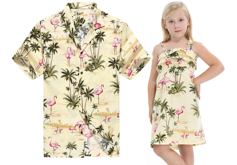 Made in Hawaii Father Daughter Matching Luau Dance Dress Shirt Yellow Flamingo