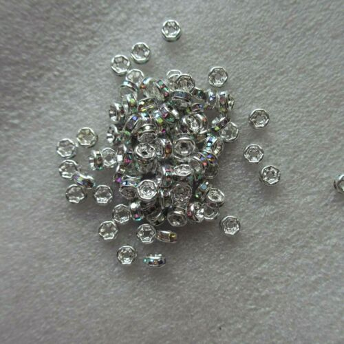 100 Rhinestone Silver Roundel Spacer 4 Round Crystal Clear Multi Black Clear AB