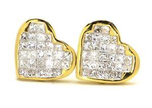 14K-Yellow-Gold-11MM-Princess-Cut-Diamond-Heart-Love-Promise-Earrings-Stud-88Ct