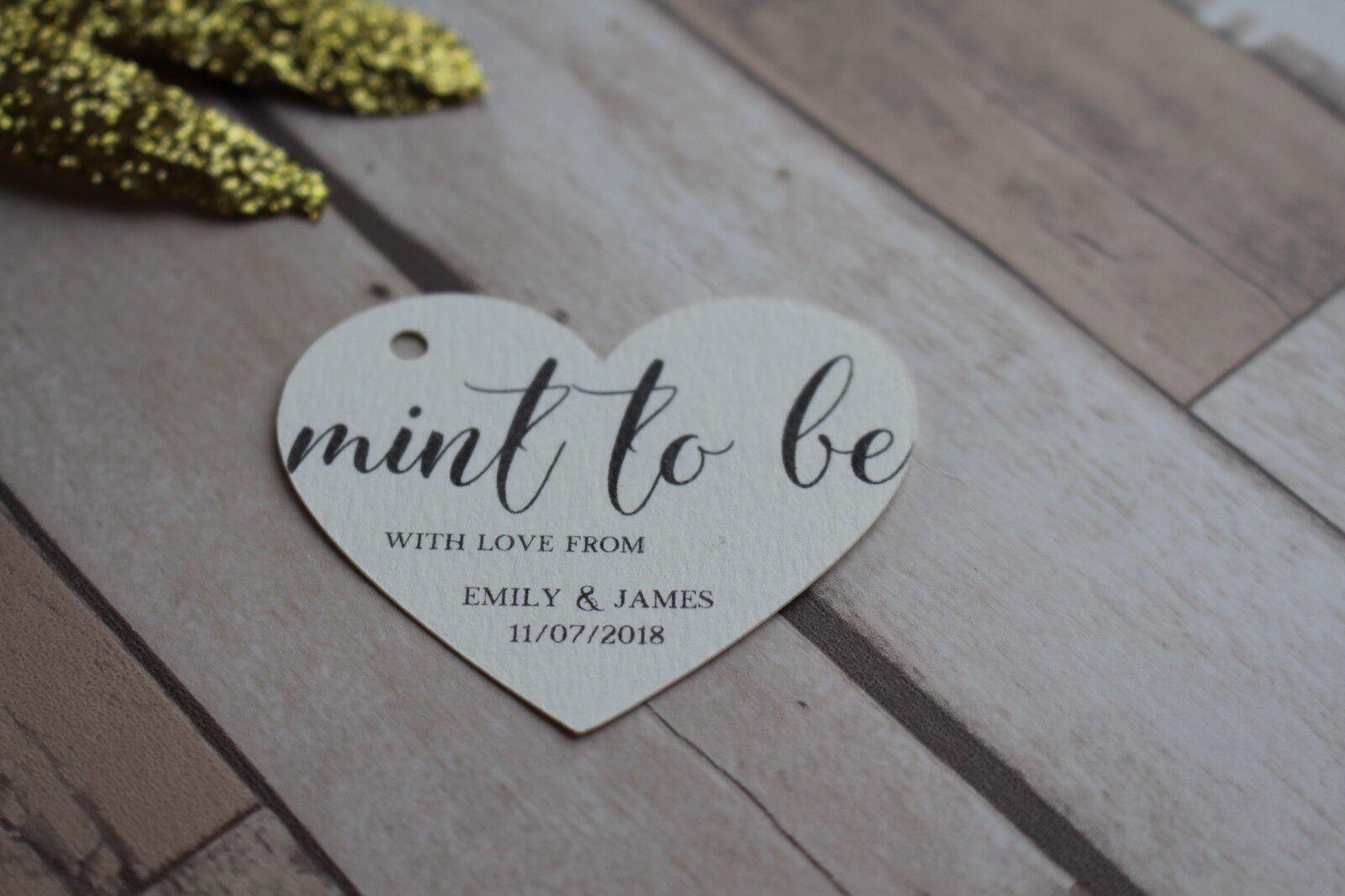 Personalizzata a Forma Etichette-Nuovo di Cuore Matrimonio Favore Etichette-Nuovo Forma di zecca ti essere TAG a7aafb