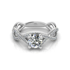0.96 Ct Certified Moissanite Engagement Ring 18K Solid White Gold ring Size 6 7