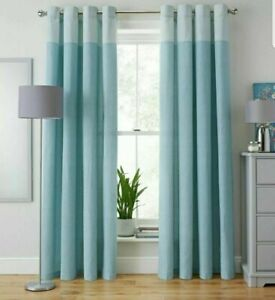 Argos Home Printed Header 117 x 137cm Unlined Eyelet Curtains Duck Egg