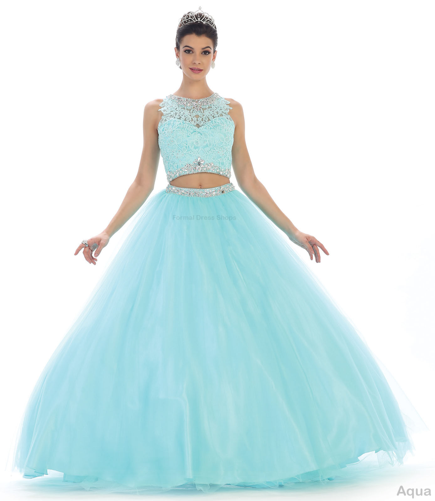 2 PIECE QUINCEANERA DRESS SWEET 16 PAGEANT PROM MILITARY