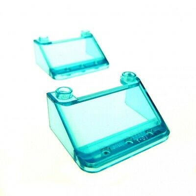 2 x Lego System Windscreen Transparent Light Blue 4 x 4 x 4 1//3 Helicopter