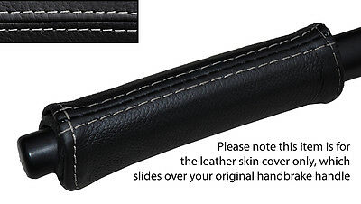 GREY STITCH HANDBRAKE HANDLE LEATHER SKIN COVER FITS SMART FORTWO 451 07-14