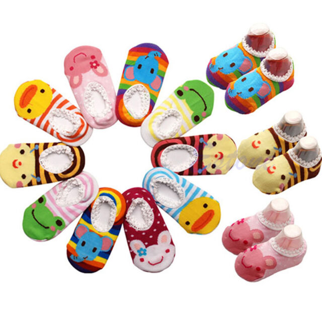 Cute Baby Kids Toddler Girl Boy Anti-slip Shoes Boots Slipper Socks 6-24 Months