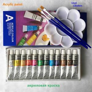 Details About 12 Color Acrylic Paint Set 12ml Tube Water Resistant Paper Glass Artist Painting